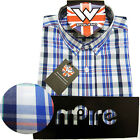 Warrior Retro Short Sleeve Button Down Shirt NELSON Mod Skinhead Blue White S-XL