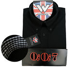 Warrior OiOi7 Short Sleeve Button Down Shirt AURIC Mod Skinhead Black Ska SMALL