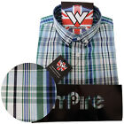 Warrior Retro Short Sleeve Button Down Shirt WALLIS Mod Blue Green Grey