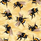 Golden Bumble Bees Nature Insects Bugs Bee Yellow Cotton Quilting Fabric