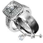 His & Hers Stainless Steel Titanium Princess CZ Wedding Ring Set + Earrings or