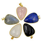 Faceted Natural Gemstone Heart Reiki Healing Chakra Pendant Necklaces Beads Gold