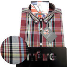 Warrior Short Sleeve Button Down Shirt HAWKING Mod Skinhead Red Black SMALL only
