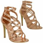 LADIES WOMENS HIGH STILETTO HEEL STRAPPY ANKLE STRAP PARTY SANDALS SHOES SIZE