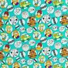 Scooby Doo Dog Retro Kids Boy Character Teal Cotton Fabric By the Yard HY t6/38
