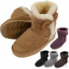 Childrens / Kids / Girls Full Sheepskin Boots / Booties with Bow Design