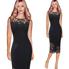 Women Elegant Sexy Floral Applique See Through Lace Party Cocktail Bodycon Dress