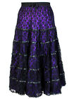 Dark Star Plus Size Black Purple Satin Lace Tiered Gothic Long Bridal Skirt M-2X