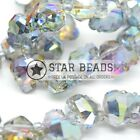 2 X FACETED GLASS CRYSTAL SILVER AB SKULL BEADS 14MM, 22MM