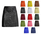 Luxury Genuine Leather Lady Button Up Mini Skirt with Front Two Pockets S5