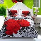 Red Rose 3D Print Duvet Cover Pillow Cases Flower Quilt Cover Bedding Set