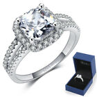 Size 4-12 Princess Cut 2.5Ct Wedding Engagement Ring Sterling Silver Propose