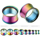 Unisex Stainless Steel Double Flared Rainbow Tunnel Expander Ear Stretcher Plug