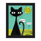 Retro Space Colony Cat Framed Canvas Wall Art