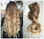 Ombre Synthetic Clip in Hair Extensions Light brown Sandy blonde