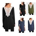 Women's Crochet Lace Hollow Out Back V Neck Long Sleeve Loose Fit Tunic Top