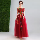 New Women's Sexy Red Dress Embroid Off Shoulder Bride Wedding Formal Prom Dress