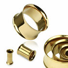 1 Or 2 Gold Plated Over Steel Double Flare Ear Tunnels - 8g thru to 16mm  #GD