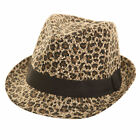Ladies Straw Leopard Print Trilby Fedora Hat Brim Summer Sun Beach Hat