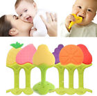 US Stock Baby Fruit Teething Biting Toys Kids Soft Silicone Teether Toothbrush