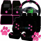 Black Pink Paw Print Car Seat Covers.Set of 4 Car Mats.Car Steering Wheel Cover.