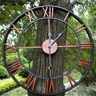 Large Outdoor Garden Wall Clock Big Roman Numerals Giant Open Face Bronze/Gold