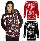 Womens Merry Christmas Ya Filthy Animal Jumper Ladies Knitted Xmas Sweater Top