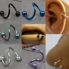 Titanium Anodized Ball Spiral Twist Navel Belly Bar Ear Ring Body Jewellery
