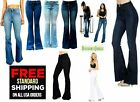 Womens Vintage High Waist Flared Bell Bottom Wax Jeans Light