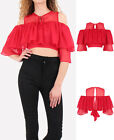 New Women Bardot Cold shoulder Crop Top Bell 3/4 Sleeves Red Keyhole Blouse 8-12
