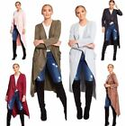 Womens Modest Belted Waterfall Draped Cardigan Open Front Suede 2 Pocket Jacket