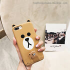 For iPhone 8 8Plus 7 Plus 6S Adorable Bear Brown With Rubber Strap 2 in 1 Case