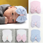UK Baby Girls Infant Striped Soft Hat with Bow Cap Hospital Newborn Beanie