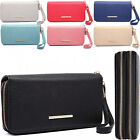 8 x Card Slots Dual Zip Long Women Wallet Faux Leather Ladies Purse Phone Holder