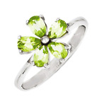 925 Sterling Silver Peridot Simple Flower Design Ring