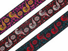 "1.20"" (3.04 Cm) wide By The Yard Jacquard Trim Woven Border Sew Ribbon T744"