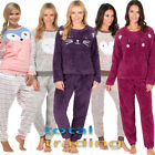 Ladies Winter Fleece Animal Twosies Loungewear Pyjama Set Thermal PJ Nightwear