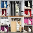 Unique DAMASK CURTAINS RING TOP/EYELET & PENCIL PLEATE FULLY LINED INC TIE BACKS