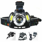 US UK EU AU 30W 15000LM CREE XML T6le Hea Zoomable Head Light Torch Lamp Charger