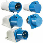3 PIN Blue 240V 32AMP Industrial IP44 Weatherproof Plug & Sockets