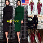 Womens Turtle Neck Bodycon Panel Dress Slim Long Sleeve Solid Pencil  Midi Dress
