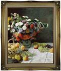 Monet Still Life with Flowers and Fruit 1869 Framed Canvas Print Repro 20x24