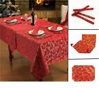 Red Table Cloth Christmas Festive Table Cloth Napkins Placemats & Runners Bundle