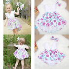 Toddler Infant Baby Girl Romper Short Dress Set Outfit Clothes Bodysuit+Headband