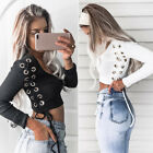 Women V-neck Lace-up Long Sleeve Crop Top Shirt Ladies Loose T-shirt Blouse CA