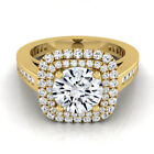 14k Yellow Gold IGI-certified 1 2/3ct TDW Round Diamond Double Square Halo