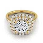14k Yellow Gold IGI-certified 1 3/4ct TDW Round Diamond Double Halo Engagement