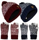 New Unisex Santa Monica Cable Knit Touch Gloves Cap Unisex Pompom Bobble Hat