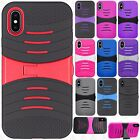 For Apple iPhone X HYBRID Hard Gel Rubber KICKSTAND Case Phone Cover Accessory