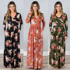 Women Floral Print Long Sleeve Beach Dress Lady Evening Party Long Maxi Dress